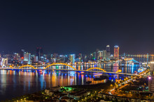 Da Nang, Vietnam – Business And Administrative District Of Da Nang City On The Han River During Night With Night Views. Picture Taken On Apr 2018