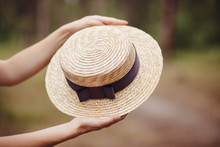 Hands With Boater Straw Hat Outdoors, French Style Fashion