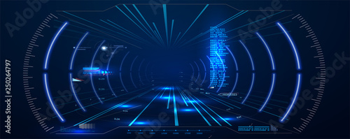 Virtual reality. Futuristic VR Head-up Display Design. Sci-Fi Helmet HUD. Future Technology. Hi tech future design. Vector