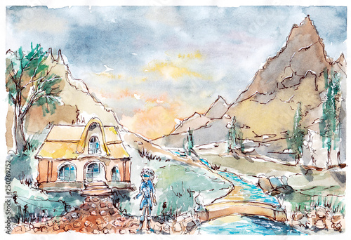Skyrim. Village in the mountains by watercolor Canvas Print