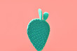 Leinwanddruck Bild Cactus green colored on Living Coral background. Minimalism. Contemporary Art gallery Style. Creative fashion concept. Close-up tropical plant on pastel coral. 16-1546