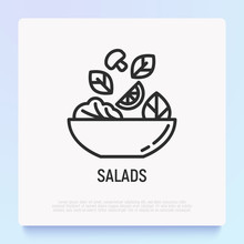 Salad In Bowl Thin Line Icon. ...
