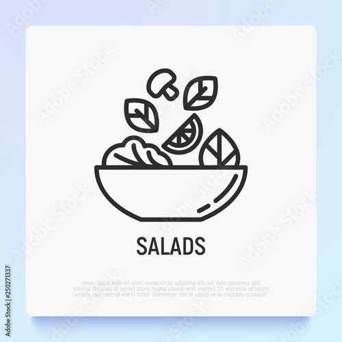 Fotomural  Salad in bowl thin line icon