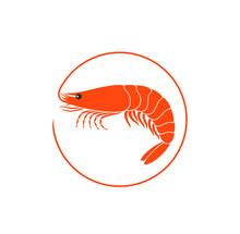 Shrimp Logo. Isolated Shrimp On White Background. Prawns