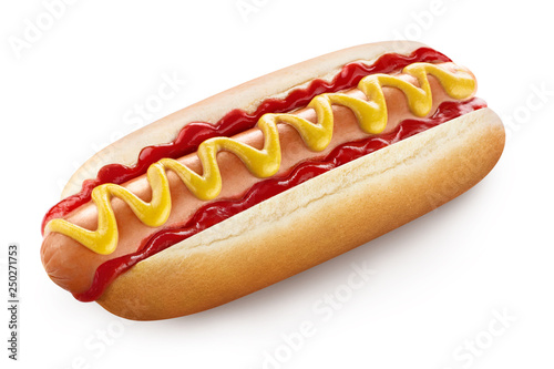 Tablou Canvas Delicious hot dog with ketchup and mustard, isolated on white background