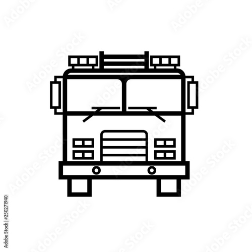 Photo Firetruck front view outline icon