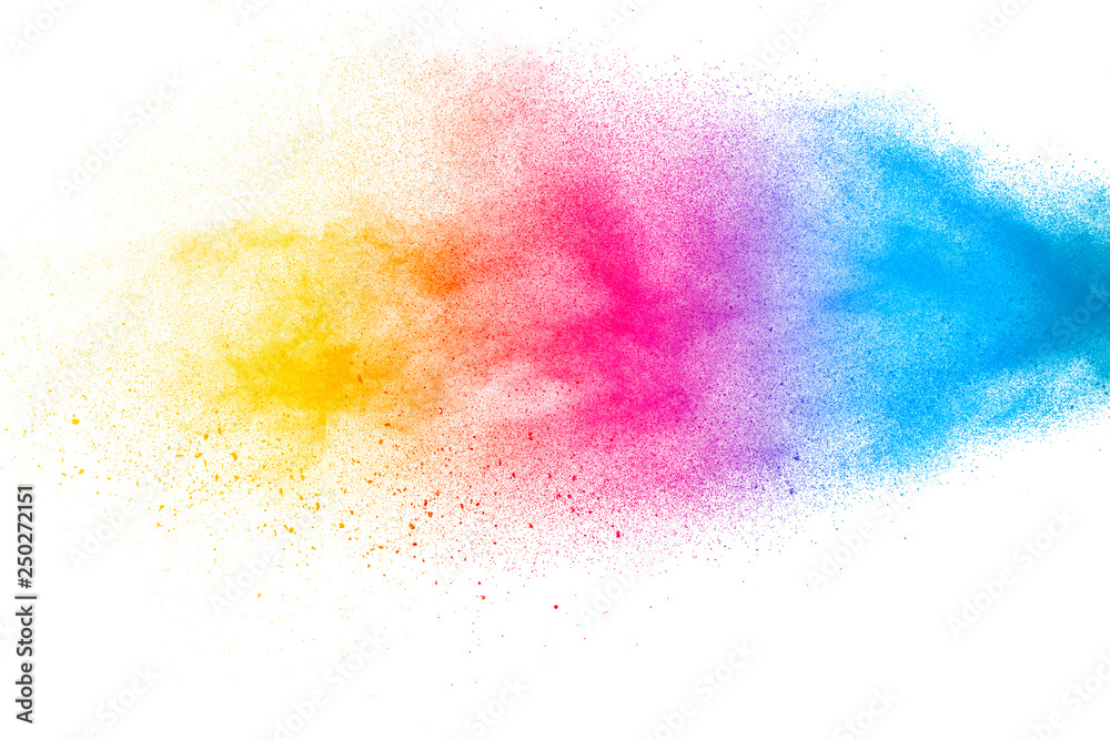 Fototapety, obrazy: Abstract colorful dust particles textured background.Multicolored powder explosion on white background.