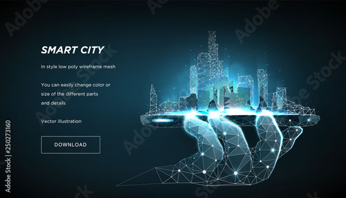 Smart city low poly wireframe on blue background. City future abstract or metropolis.  Concept manage the city from the phone. Polygonal space low poly with connected dots and lines. Vector 3d