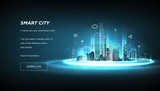 Fototapeta Miasto - Smart city low poly wireframe on blue background.City future abstract or metropolis.Intelligent building automation system business concept.Polygonal space low poly with connected dots and lines.Vecto
