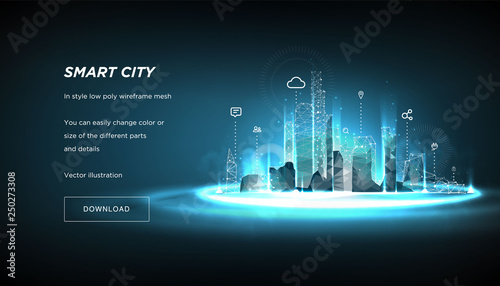 Fototapeta Smart city low poly wireframe on blue background.City future abstract or metropolis.Intelligent building automation system business concept.Polygonal space low poly with connected dots and lines.Vecto obraz