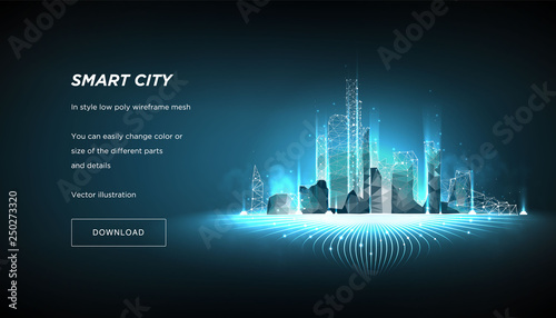 Smart city low poly wireframe on blue background.City future abstract or metropolis.Intelligent building automation system business concept.Polygonal space low poly with connected dots and lines.Vecto - 250273320