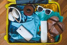 Travel Concept. Yellow Suitcas...