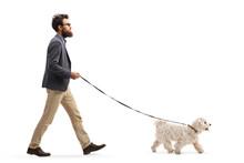Bearded Man Walking A Maltese Poodle Dog