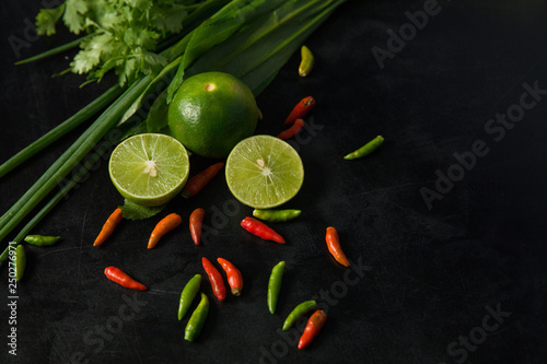 Seasoning on black table © Voradech Triniti