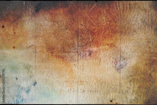 Fototapeta Dark old paper texture yellowed paper background with stains