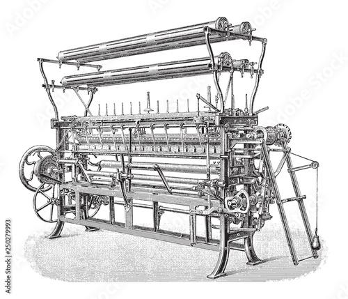Fotografie, Obraz Old knitting loom / vintage illustration from Meyers Konversations-Lexikon 1897