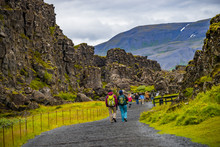 Thingvellir National Park, Pingvallavatn Huge Tectonic Plates Drifting Cracks And Tourists On Iceland, Summer Time