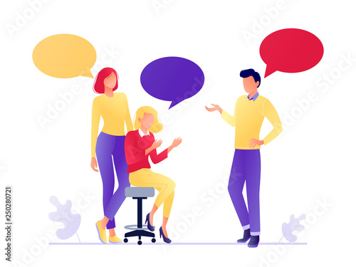 Fototapety, obrazy: Vector illustration of flat people talking together. Businessmen and women discuss social networks, news. Chat, dialogue speech bubbles. Teamwork, searching for idea. Flat concept vector illustration.