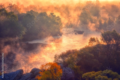 Montage in der Fensternische Landschaft Amazing nature landscape, misty autumn sunrise over the scenic rocky canyon, National park Bugski Guard, Southern Bug river, Mykolaiv region, Ukraine