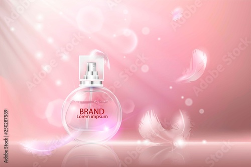 Fototapeta Vector illustration of a realistic style perfume in a glass bottle. Great advertising poster for promoting a new fragrance. obraz