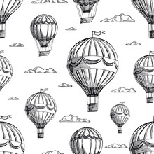Seamless Background Of Airships