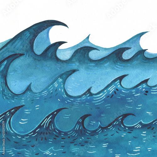Hand drawn Sea wave. Abstract Watercolor sketch © katyau