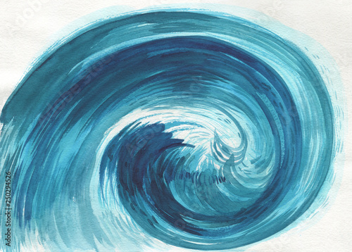 Hand drawn Sea wave. Abstract Watercolor sketch Canvas-taulu
