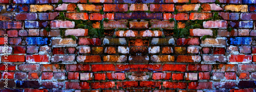 Tablou Canvas Old Textured Wall with Colorful Bricks and Green Moss Growing