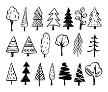 Trees Doodles - Hand Drawn Sketches
