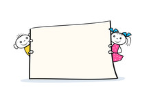 Cartoon Boy And Girl Characters Holding Placard In Hands. Banner Sign Design In Doodle Style. Vector Illustration
