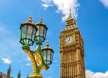 Big Ben And Street Lamp, London, UK