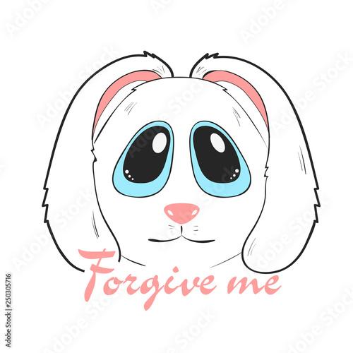 Fotografía  Forgive me card with adorable cute bunny