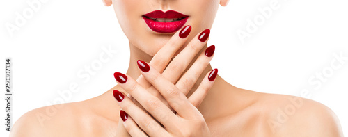 Foto op Aluminium Manicure Woman Beauty Lips Nails, Beautiful Model Face Lipstick Makeup, Red Manicure Polish