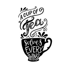 Hand Lettered Quote About Tea