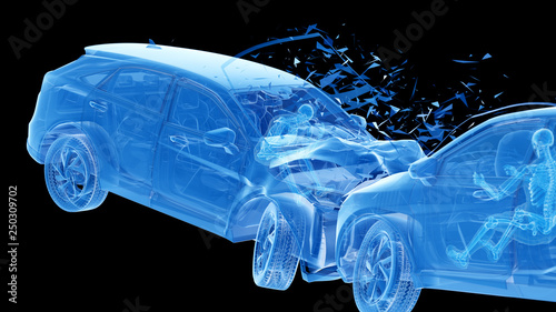 3d rendered illustration of two colliding cars Canvas Print