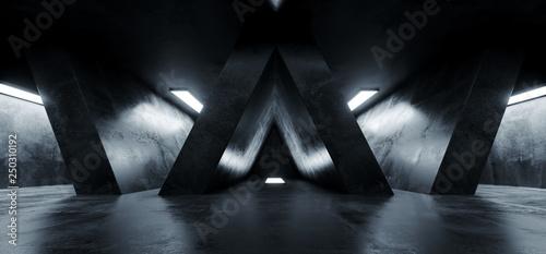 Fototapeta Triangle Shaped Grunge Concrete Sci Fi Futuristic Elegant Empty Dark Reflective Big Hall Scene Alien Ship Room Tunnel Corridor Glowing Studio Lights 3D Rendering obraz na płótnie