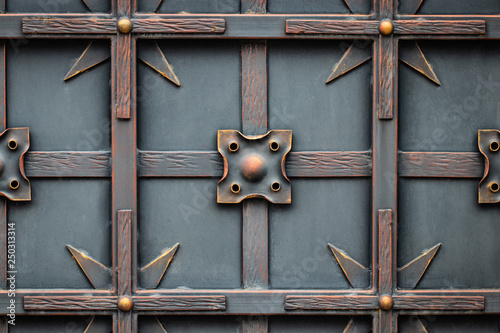 Fotobehang Vlinders in Grunge beautiful decorative metal elements forged wrought iron gates