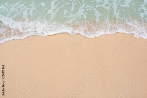 Keuken foto achterwand Strand Soft wave of sea on empty sandy beach Background with copy space