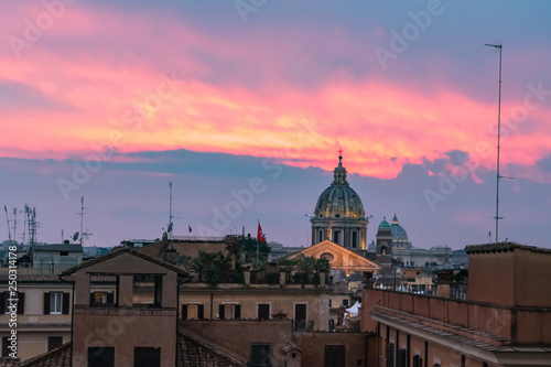 Sunset hour in Rome, Italy with cityscapes and rooftop views