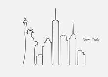 New York City Skyline With Statue Of Liberty, Usa, Vector Illustration.