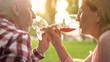 Grandparents enjoying red wine on outdoor date, celebrating anniversary, love