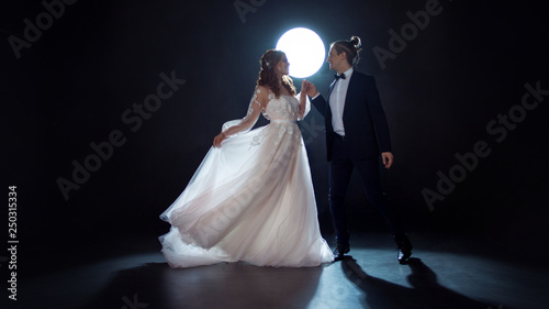 Obraz na plátně Mysterious and romantic meeting, the bride and groom under the moon