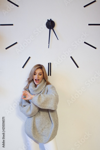 Fotografie, Obraz  Portrait of a cute young blonde on the big dial, the mode of the day