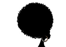 Curly Afro Hair, Portrait African Women , Dark Skin Female Face With Curly Hair Afro, Ethnic Traditional Earrings And Sexy Red Lips, Hair Style Concept, Vector Isolated Or White Background