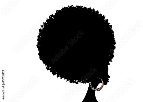curly afro hair, portrait African Women , dark skin female face with curly hair Canvas Print
