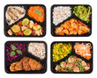 Leinwanddruck Bild - Set of containers with healthy cooked lunch isoalted on white background