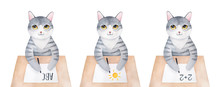 Cheerful Kitty Character Sitting At Wooden Desk And Various Most Common Educational Subjects: Mathematics, Languages, Art. Hand Drawn Water Color Painting On White Background. Cute Clipart Collection.