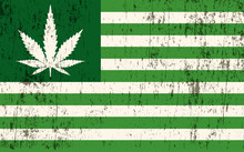 Grunge Textured American Marijuana Flag Illustration