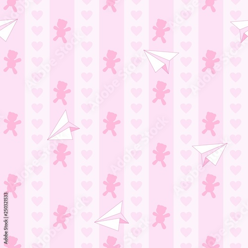 Tuinposter Draw Teddy Bear Hearts and Paper Plane Cute Baby Girl Dream Vector Seamless Pattern