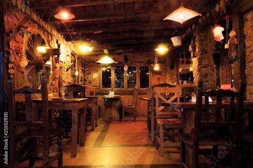 Fototapeta Interior of a beautiful and cozy irish pub obraz